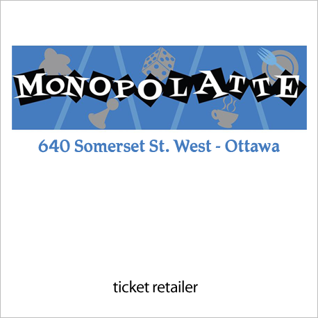 Ticket Retailer:  Monopolatté Board Game Café - http://www.monopolatte.com/